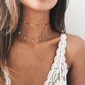 Jewelry - 4 for $25 Dainty Layered Gold Coins & Stars Choker